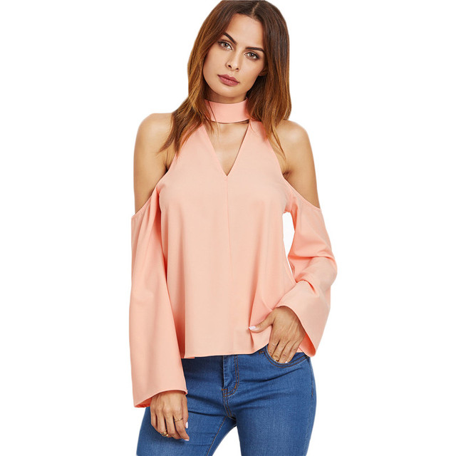 390322426adf6 Customize Ladies Plus Size Office Shirts Women Fashion Long Sleeve Pink  Cutout Choker Cold Shoulder Top Chiffon Blouse