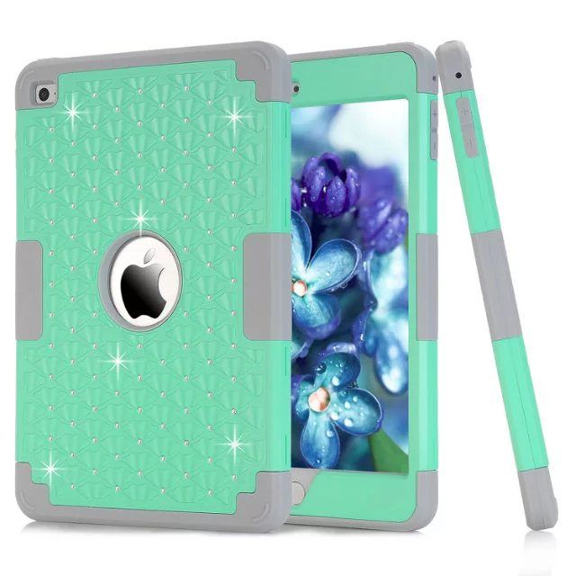 New for Funda iPad Mini 4 Case Bling Diamond Starry 3 in 1 Hybrid Rubber PC+ Silicone Case Cover for iPad Mini 4 Coque Capa for ipad mini4 cover high quality soft tpu rubber back case for ipad mini 4 silicone back cover semi transparent case shell skin