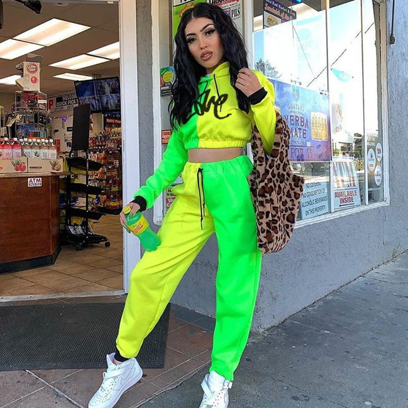 Winter Women Matching Fluorescent Yellow Green Tracksuits Long Sleeves Hooded Crop Top Jogging Pants Suit Fall