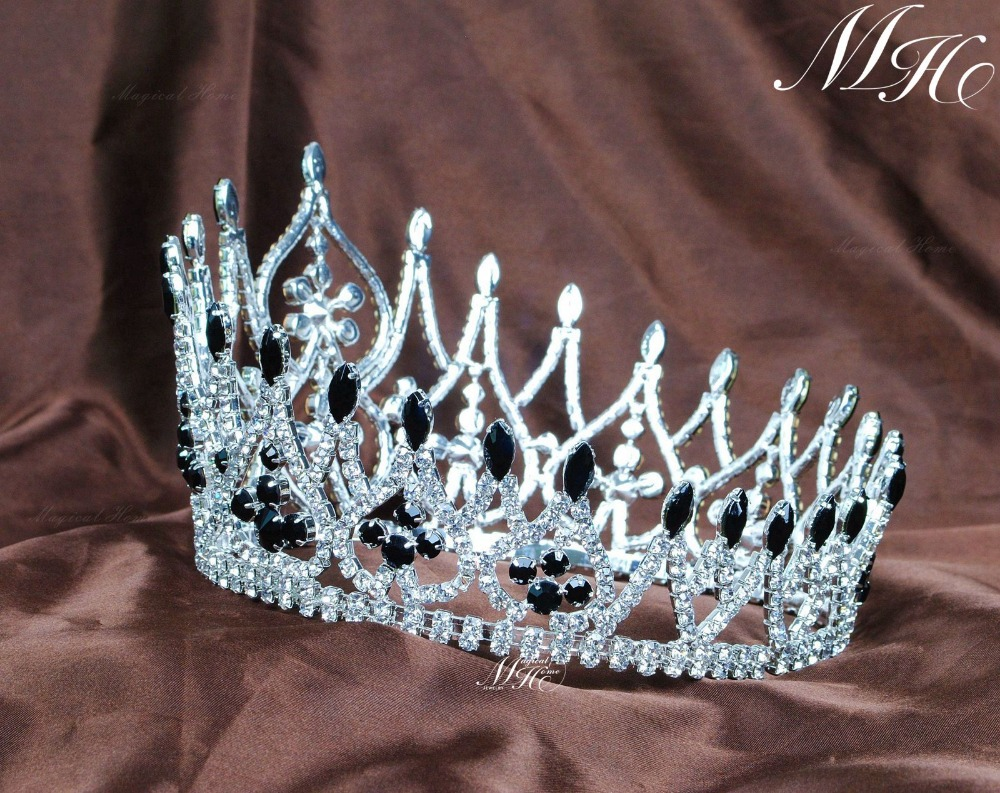 Crowns full circle round tiaras rhinestones crystal wedding bridal - Online Shop Incredible Wedding Bridal Handmade Crowns 4 25 Black Crystal Rhinestones Full Round Hair Piece Beauty Pageant Party Prom Aliexpress Mobile