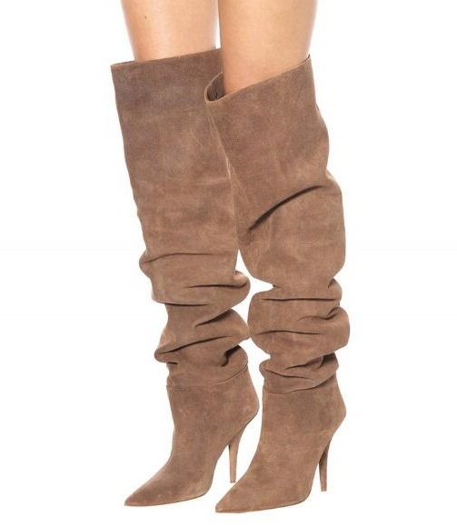 Drop Shipping Spring New Brand Women Solid Khaki Pointed Toe Slip On Fold Loose Stiletto Heels Over The Knee Thigh Long BootsDrop Shipping Spring New Brand Women Solid Khaki Pointed Toe Slip On Fold Loose Stiletto Heels Over The Knee Thigh Long Boots