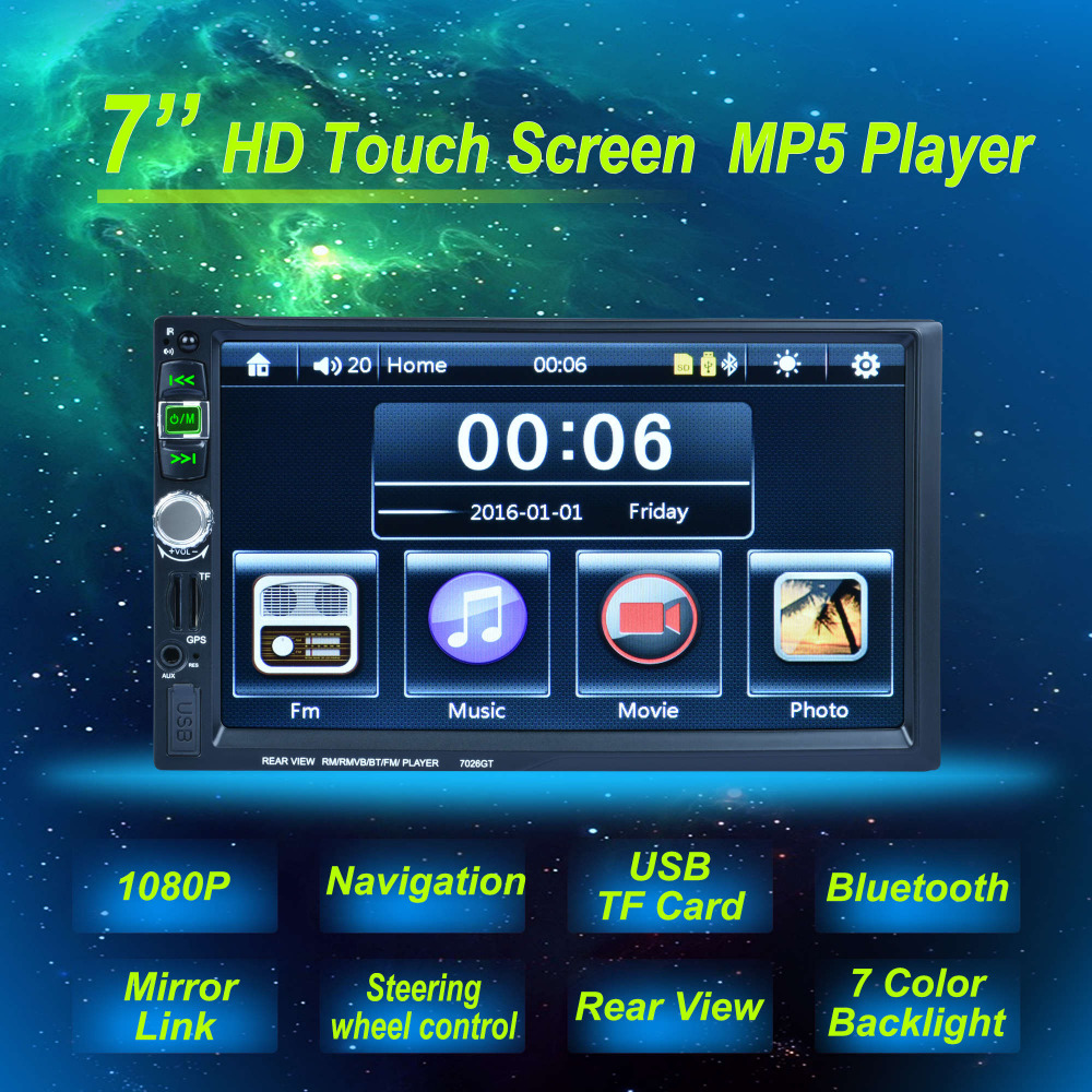 7'' Touch Screen Car Radio MP5 Player 2 DIN Bluetooth 1080P FM USB GPS Navigation with Rear View Camera Remote Control 7 hd bluetooth touch screen car gps stereo radio 2 din fm mp5 mp3 usb aux z825