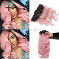 7A 100% Human Brazilian Virgin Hair 3 Bundles Body Wave With Ear to Ear 13x4 Lace Frontal Closure #1B/Pink Natural Hairline