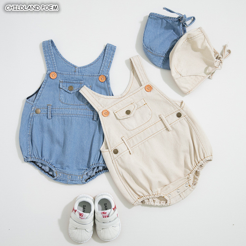 <font><b>Baby</b></font> Boy <font><b>Clothes</b></font> Spring Summer <font><b>Baby</b></font> Romper With Hat Denim <font><b>Baby</b></font> <font><b>Clothes</b></font> Newborn <font><b>Baby</b></font> Jumpsuit For Boys Girls Jumpsuit Overalls image