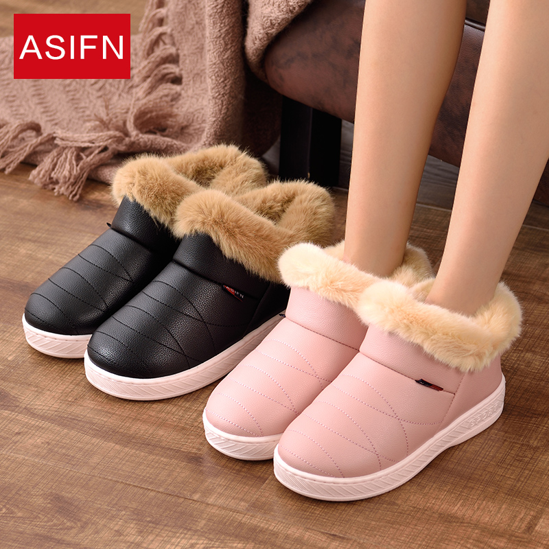 2018 Women Boots Winter Warm Fur Ankle Boots Waterproof Couple Warm Plush Shoes Woman House Comfort Cotton Botas Mujer Zapatos superstar women s snow boots add plush fashion warm shoes tube in warm winter mujer shoes flat ankle botas woman zapatos 444
