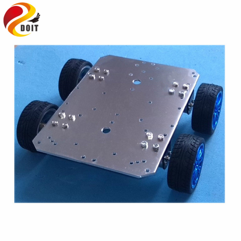 Official DOIT Smart Car Chassis 4WD 25mm Motor 65mm Wheel Aluminum Alloy Robot UNO R3 Raspberry pi pCduino RC Wireless