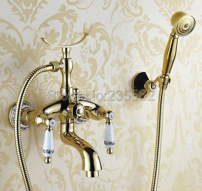 Luxury Golden Brass Porcelain Base Wall Mounted Bathroom Tub Shower Faucet Set Dual Handle Mixer Tap + Handheld Shower ltf406 micoe brass thermostatic water rainfall shower set faucet tub mixer tap handheld shower wall mounted bathroom m a1014 1d