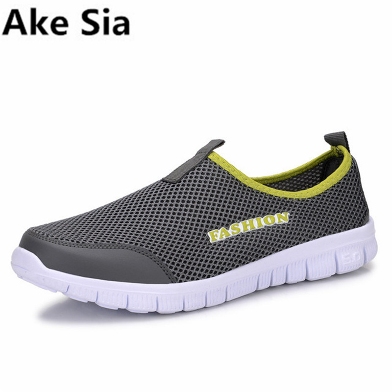 Ake Sia Fashion summer shoes men casual air mesh shoes large sizes 38-46 lightweight breathable slip-on flats chaussure homme high quality men casual shoes fashion lace up air mesh shoe men s 2017 autumn design breathable lightweight walking shoes e62