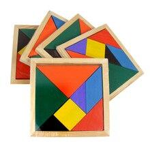 115*115*10 мм Деревянные Головоломки Tangram Логические Головоломки для Детей детские Развивающие Монтессори Деревянные Игрушки подарок