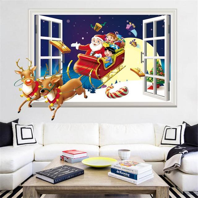 2018 веселые рождественские наклейки на стену наклейки для детской комнаты домашний декор на стену наклейки домашний Декор Гостиная
