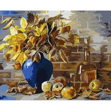 Frameless Abstract Gold Flowers DIY Oil Painting By Numbers Kit Paint On Canvas Home Wall Art Picture 40*50cm