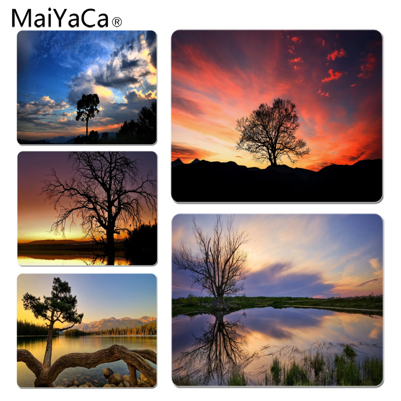 MaiYaCa Sunset Tree Large Mouse pad PC Computer mat Size for 18x22x0.2cm Gaming Mousepads