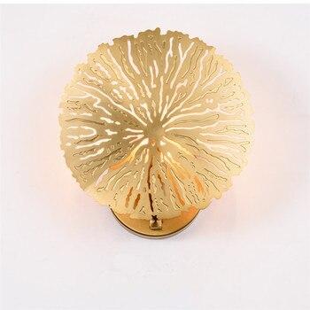 Retro Modern Wall Lamp Golden Novelty Hollow Lotus Leaf Shape Wall Lights Creative Wall Lighting Fixture For Bedroom Foyer Deco