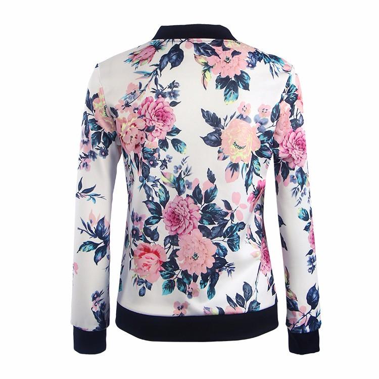 Kwiat Drukuj Kobiety Podstawowe Płaszcze Długim Rękawem Zipper Bomber Jacket Casual Kurtka Płaszcz Jesień Zima Streetwear sukajan 25