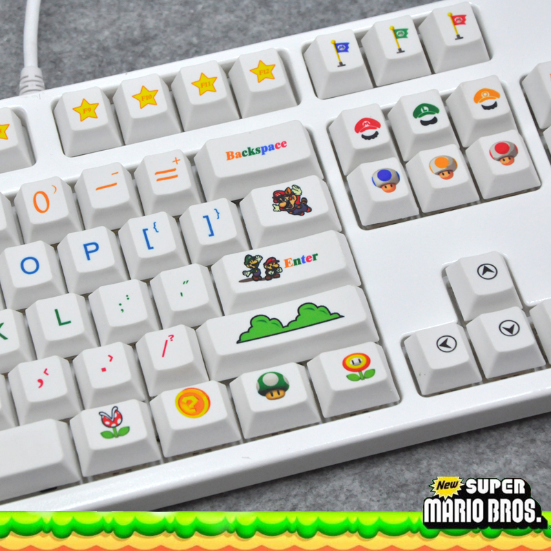 Sublimation keycap Mario 6 25 PBT OEM Cherry Profile for Gaming Mechanical Keyboard
