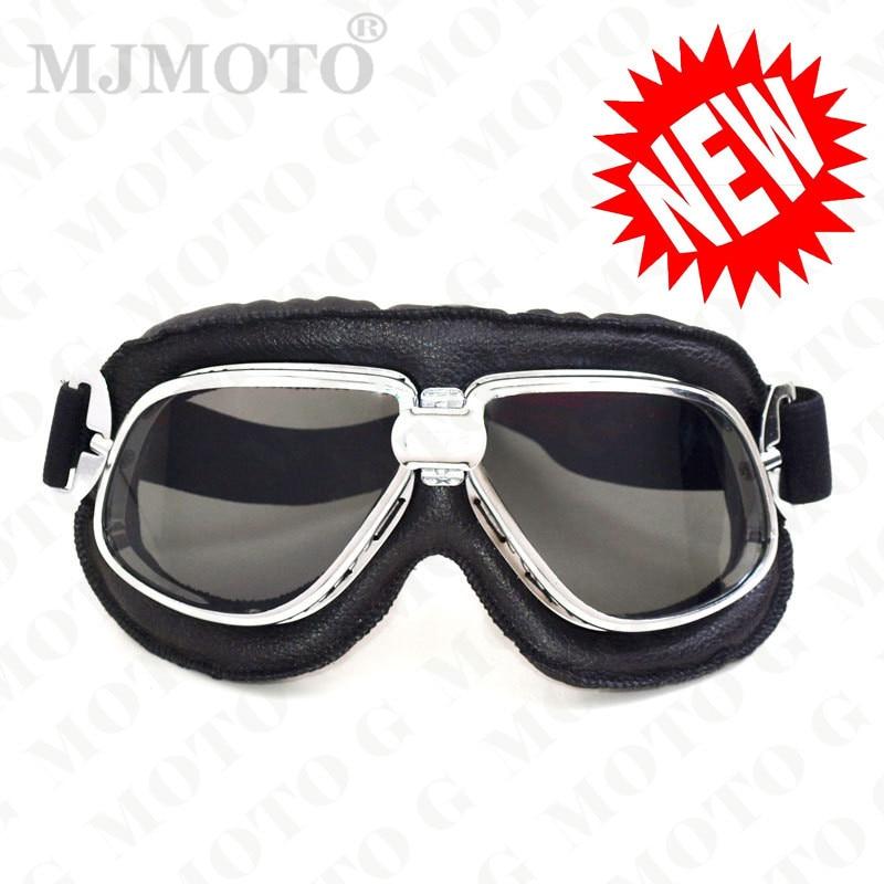 MJMOTO motorcycle helmet goggles leather unisex man vintage pilot biker motocross off road ATV skiing goggle motocyklowe glasses