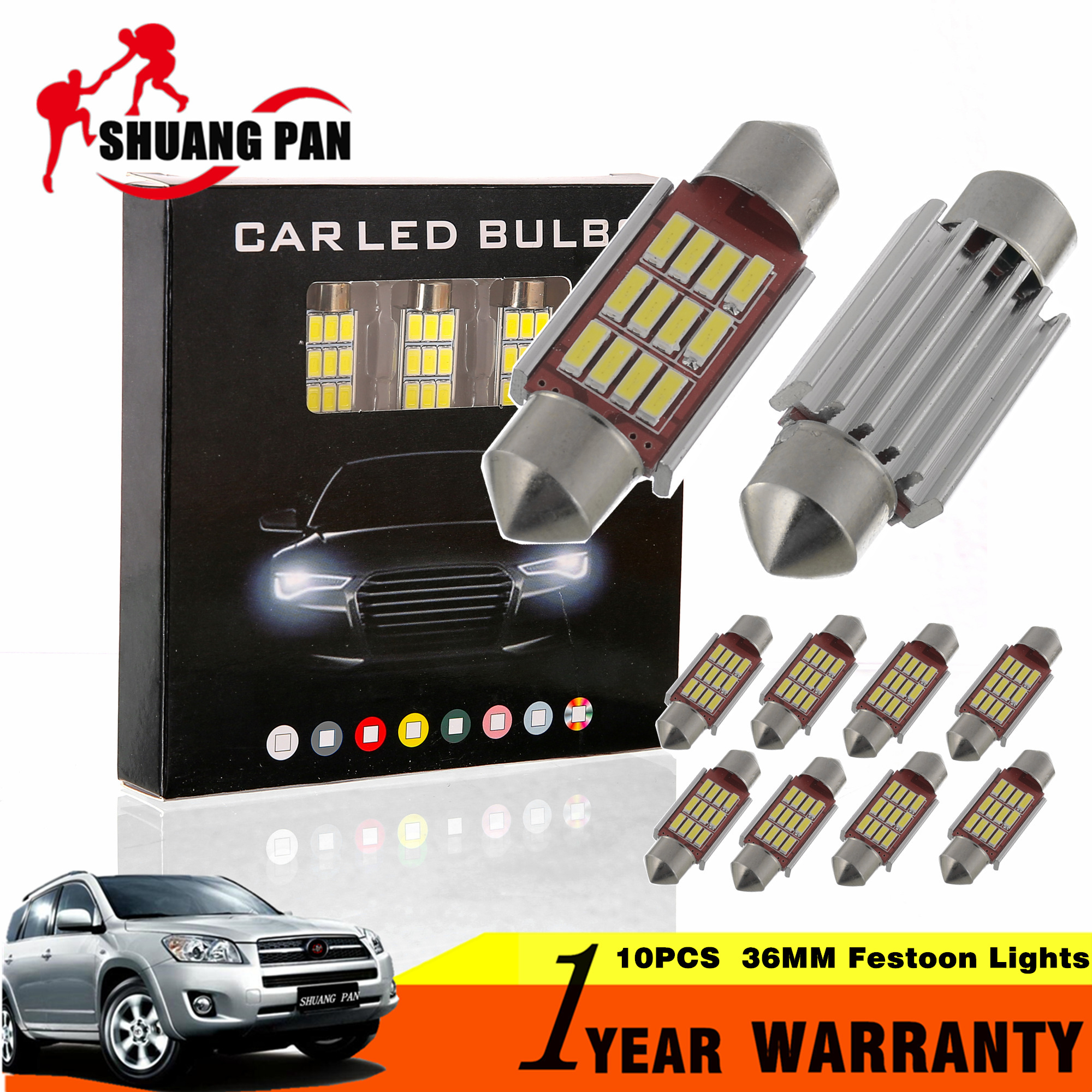 10pcs Car led Festoon Lights 31mm 36mm 39mm 41mm Dome Light 12SMD 4014 CANBUS Car Interior Bulbs c5w License Plate Lights 12v cawanerl car canbus led package kit 2835 smd white interior dome map cargo license plate light for audi tt tts 8j 2007 2012