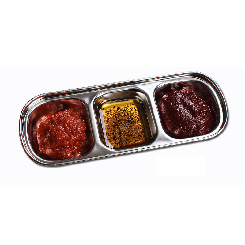 Barbecue Dipping Dish Stainless Steel Condiment Bowl Three Grilles Soy Sauce Vinegar Sauce  Divided  Es