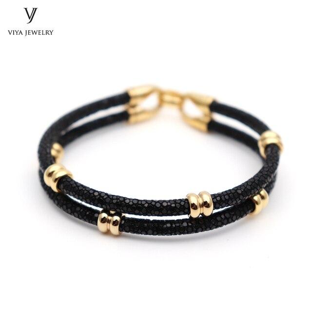 Mens Leather Bracelet With Gift Box Luxury Black Stingray Skin
