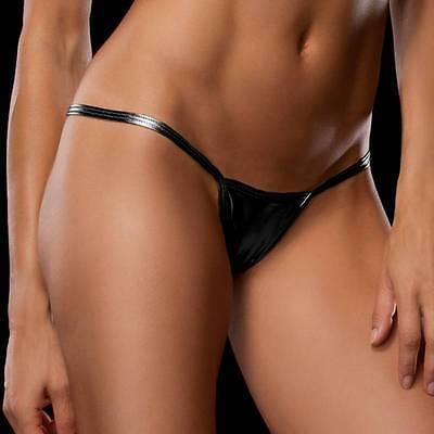perizoma underwear mutandine delle donne di cuoio nero lucido cuoio bagnato sguardo caldo micro mini metallic