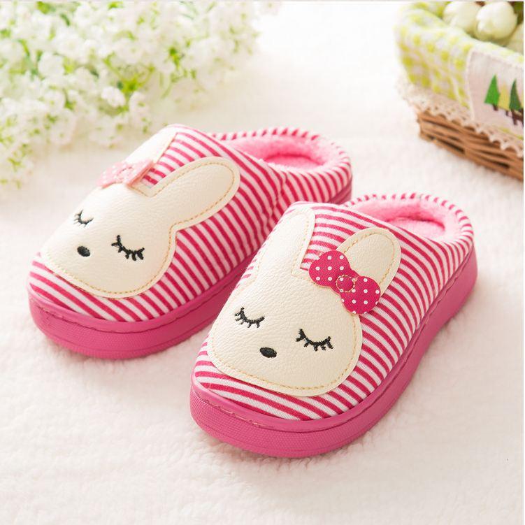 De mujeres otoño e invierno lindo arco a caliente algodón zapatillas indoor Inicio anti - zapatillas antideslizantes , pink , 39