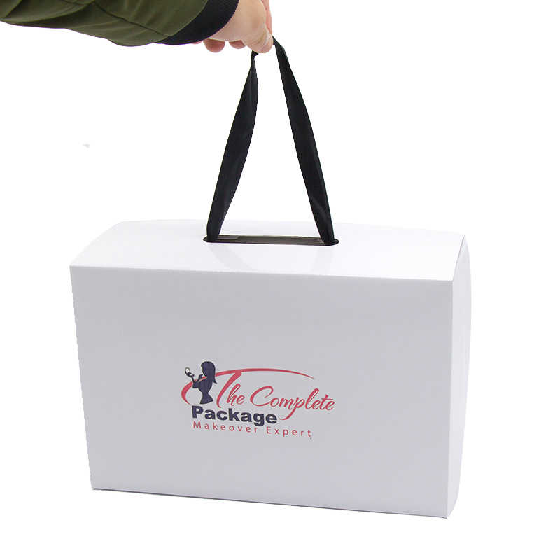 New Customized Printed Brand Name Logo Hair Packaging  Box Wig Hair Box Can Be Black/White Portable Rope Shoe Box