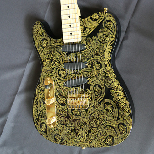 2017New Artfit Oem James Gold Paisley China Musical Instruments Electric Guitars Free Shipping Guitare image