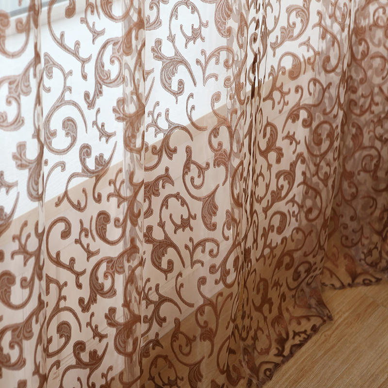 Modern Sheer Voile Tulle Curtains jacquard Floral Design Luxury Curtain for bedroom living room window door home Decoration