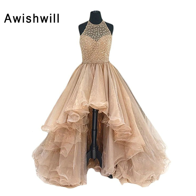 Real Photo Halter Open Back Beading Lace Bodice Organza Asymmetrical   Prom     Dress   2019 Customize Party   Dresses