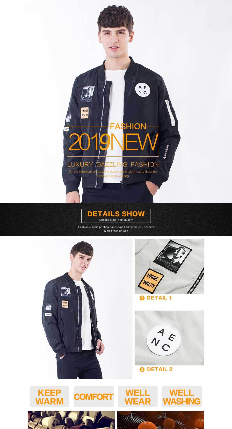a56636c5749a5 FAVOCENT Fashion Men Bomber Jacket Hip Hop Patch Designs Slim Fit ...