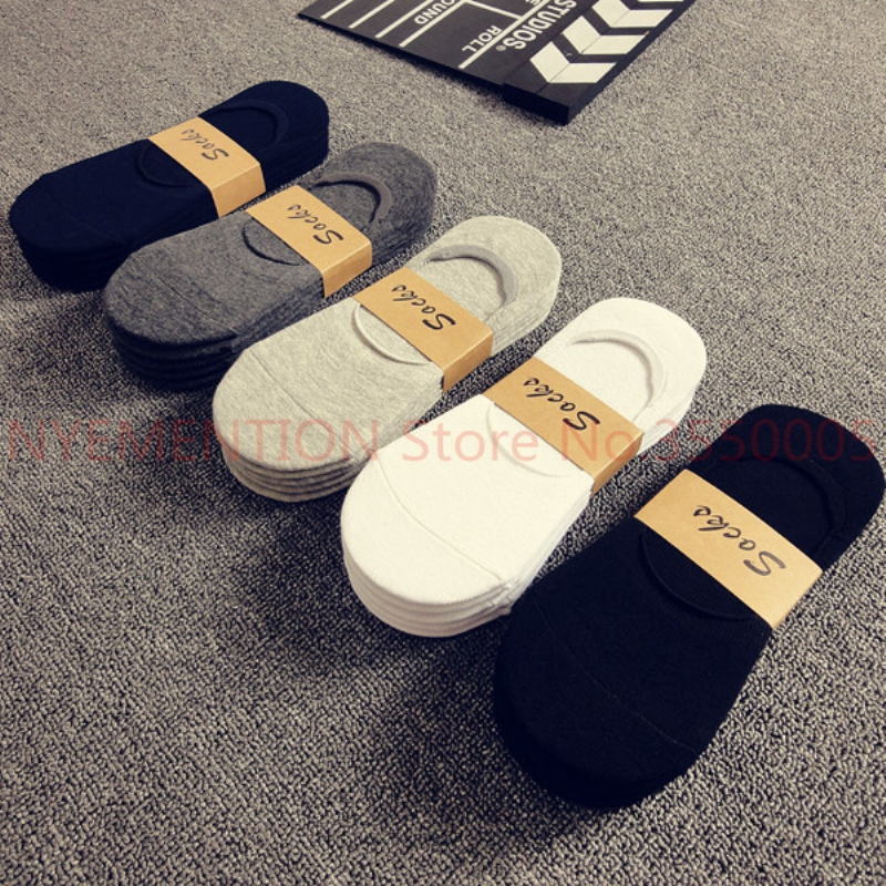 100Pairs/Lot Fashion Casual Men Socks High Quality Banboo & Cotton Socks Brief Invisible Slippers Male Shallow Mouth No  Sock