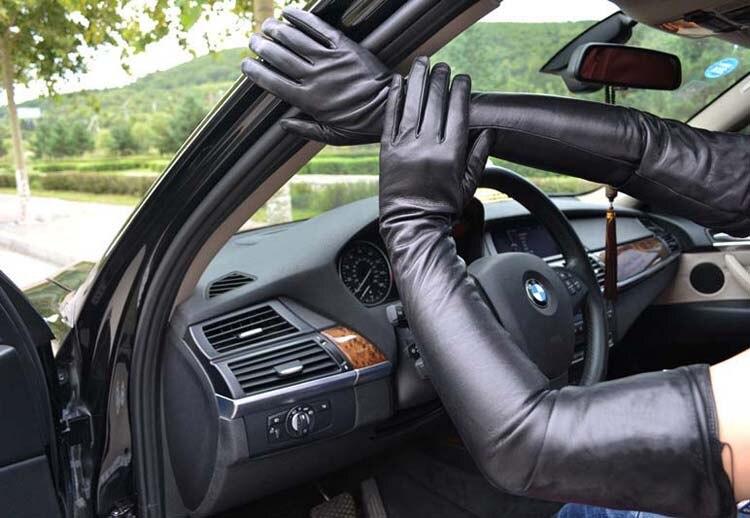 70 см (27,6 ) длинные классические простые супер длинные перчатки из натуральной кожи черные - 3
