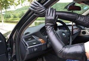Image 3 - 70 см (27,6 дюйма) длинные классические простые сверхдлинные перчатки из натуральной кожи на плече черные