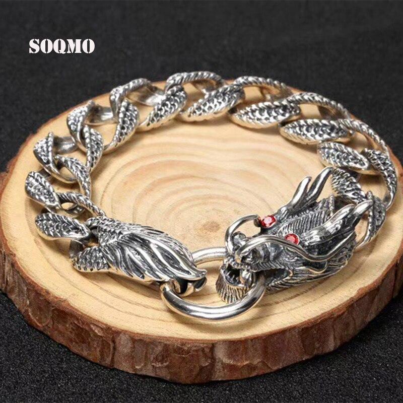 SOQMO De Luxe Pur 925 Sterling Silver Dragon Bracelet Hommes Vintage Punk Rock Hommes Bracelets Homme Argent 925 Bijoux SQM015