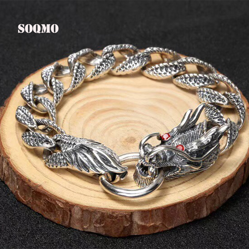 SOQMO Luxury Pure 925 Sterling Silver Dragon Bracelet Men Vintage Punk Rock Mens Bracelets Man Silver 925 Jewelry SQM015 trustylan cool stainless steel dragon grain bracelets men new arrival punk rock keel mens bracelets