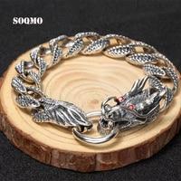 SOQMO Luxury Pure 925 Sterling Silver Dragon Bracelet Men Vintage Punk Rock Mens Bracelets Man Silver 925 Jewelry SQM015