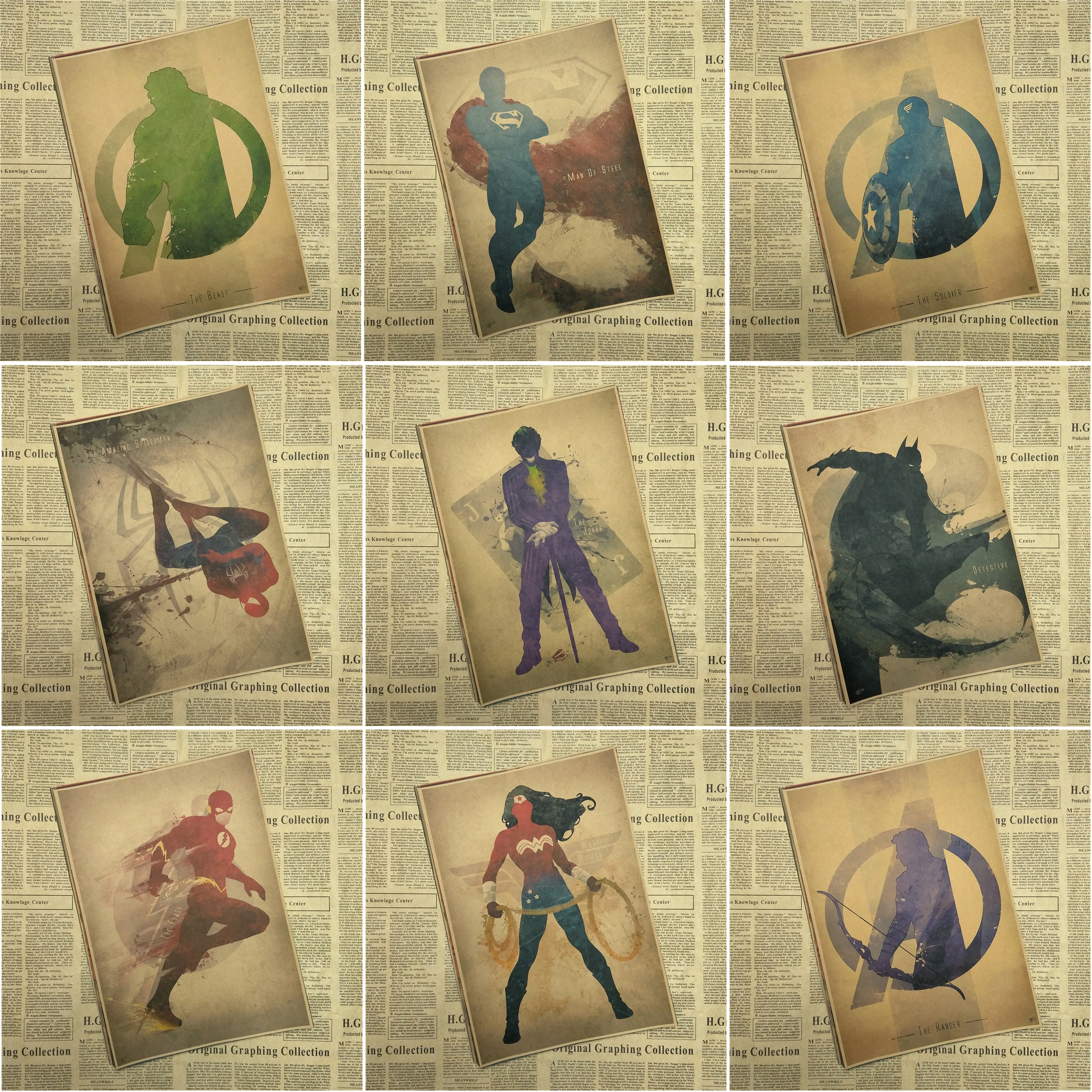 Superheroes Poster decorative painting ink Catwoman / Wonder Woman / Spider-Man / Flash / Superman
