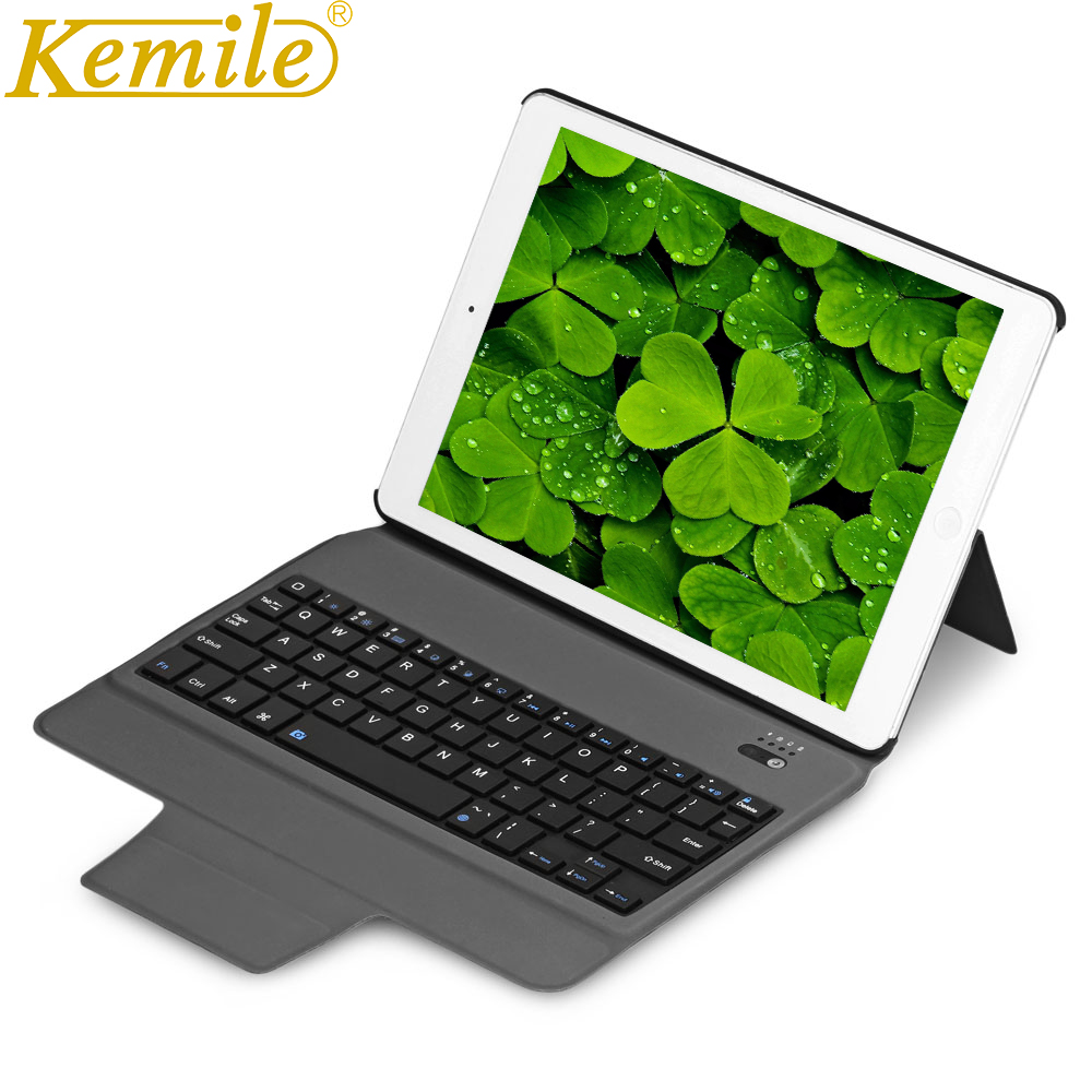 kemile Ultra Slim Bluetooth Keyboard with Stand Smart Lightweight Leather Case Cover tablet Keypad klavye For iPad air 1 &2 ultra thin slim stand litchi grain pu leather skin case with keyboard station cover for lenovo ideapad miix 320 10 1 tablet pc