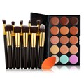 Professional Make UP Set  10PCS Makeup Brush Stonge Puff 15 Color Concealer Tool Set GUB#