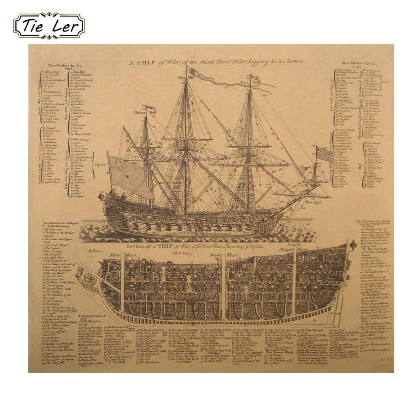 1 pcs Ancient Warships Design Drawings Movie Kraft Paper Poster History Wall Sticker Painting Antique Home Decor
