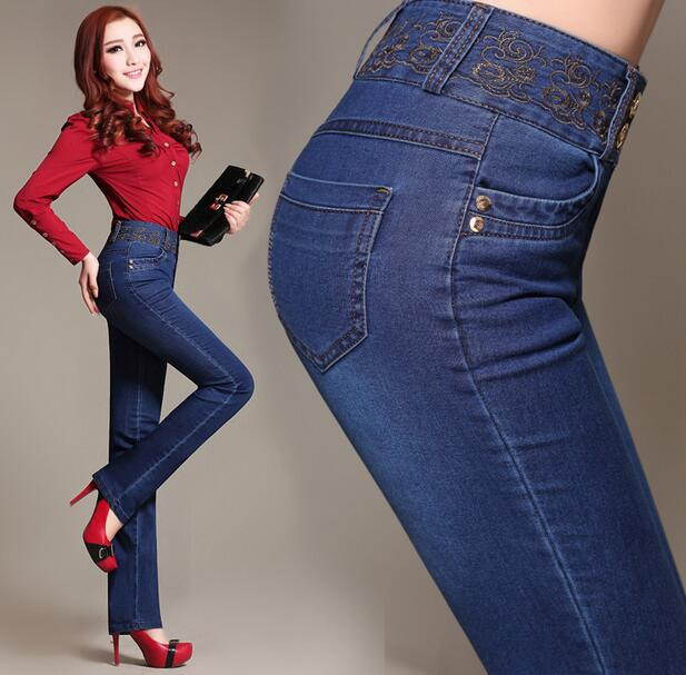 New embroidery high waist jeans women Slim denim pants troursers plus size S98