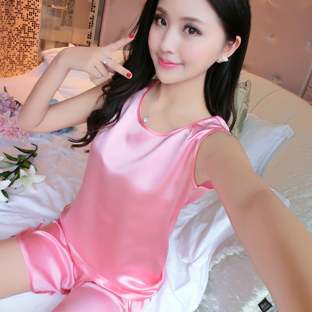 Women Sleeveless Nightgown Imitated Silk Female Pajamas Clothes Summer Homewear Suit Top+Pants Lady Nightdress Sets 89