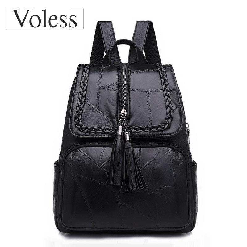 VOLESS Brand Women Backpack Fashion Tassel School Backpacks For Teenage Girls High Quality Genuine Leather Women Back Pack 2018