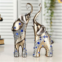 Miniature Garden Decoration Resin Elephant Figurine Home Statue Crafts Office Living Room Feng Shui Decor Lucky Ornaments
