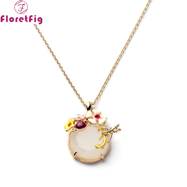 7d2ff0996724a Floretfig اليعسوب قلادة الزهرة مع الدعسوقة المينا دلاية مجوهرات قلادة للنساء  الذهب سلسلة طوق قلادة فحام