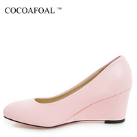 COCOAFOAL Woman Wedge Shoes Fashion Sexy Stiletto Party Wedding Pink Pumps Apricot Black White High Heels