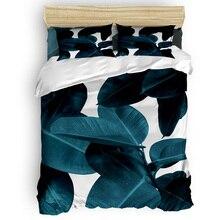 Indigo Plant Leaves Duvet Cover Cotton Duvet Cover King Size Queen Size Quilt Cover Set Bedclothes Comforter Single Bedding Sets