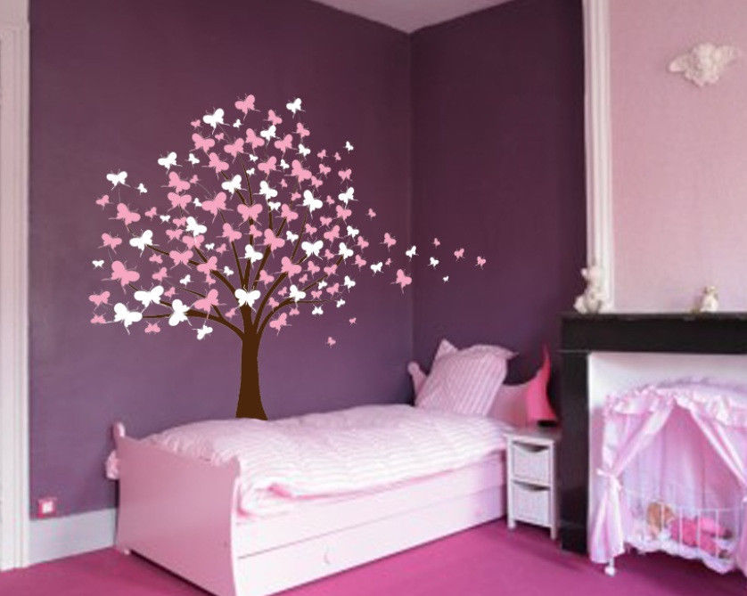 Large Wall Tree Baby Nursery Decal Butterfly Cherry Blossom Sticker