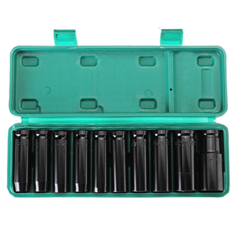 10Pcs 8 24Mm 1 2 inch Drive Deep Impact Socket Set Heavy Metric Garage Tool For Wrench Adapter Hand Tool Set in Wrench from Tools