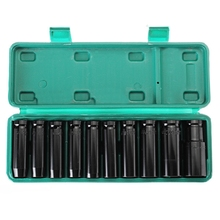 10Pcs 8-24Mm 1/2 inch Drive Deep Impact Socket Set Heavy Metric Garage Tool For Wrench Adapter Hand